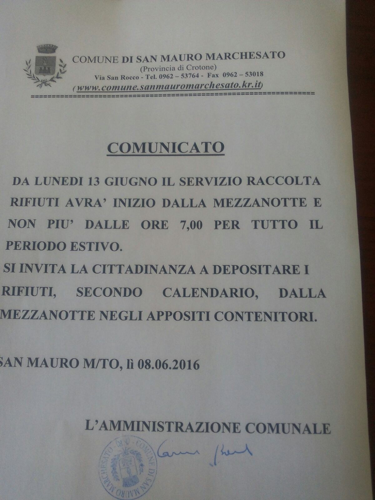 Comunicato differenziata